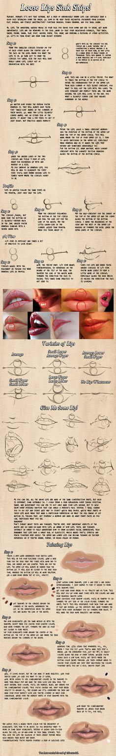 Delineate Your Lips Tutorials favourites by Aeon--Soul on DeviantArt - How to draw lips correctly? The first thing to keep in mind is the shape of your lips: if they are thin or thick and if you have the M (or heart) pronounced or barely suggested. Drawing Lessons, Drawing Techniques, Drawing Tutorials, Drawing Tips, Art Tutorials, Art Lessons, Drawing Ideas, Anatomy Reference, Drawing Reference