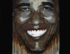 Andre Woolery's popular Barack Obama thumbtack and paint mural.