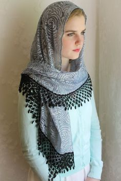Evintage Veils~ Our Lady  of Consolation Blue Silver Roses Vintage Inspired Lace Chapel Veil Scarf Mantilla Shawl