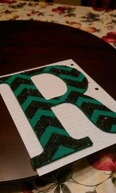 Chevron Glitter Letter for my dorm
