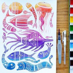 Testing the range of my new watercolors. I think I'm in love.  - -  #artbyjessieamo #watercolor #watercolorpainting #ink #colorful #fish #jellyfish #ocean #sea #beach #underthesea #rainbow #artcollective #art_we_inspire #artgallery #arts_help #artspotlight #instaart #arte #dibujo #drawing #drawingoftheday #artoftheday #watercolour #makersgonnamake #creativelife #surfacedesign #surfacepattern #design by jessieamo