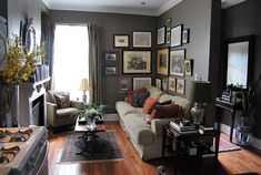 Cozy and homey. I like it.  paint colour - cromwell gray by BM