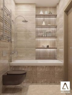Tiny Bathroom Tub Shower Combo Remodeling Ideas 46 - Home Decor Design Bathroom Design Small, Bathroom Interior Design, Modern Bathroom, Bathroom Designs, Brown Bathroom, Interior Ideas, Bath Design, Classic Bathroom, Small Bathroom With Tub