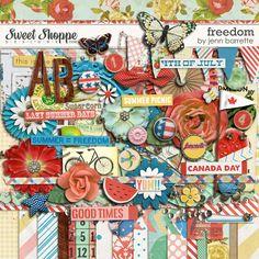 Digital Scrapbook Kit, Freedom by Jenn Barrette