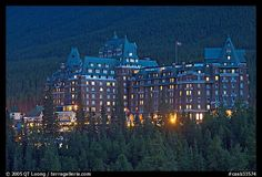 Banff Springs Hotel at dusk. Banff National Park, Canadian Rockies, Alberta, Canada... believe i've been here