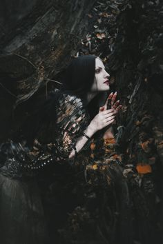 """nataliadrepina: """"Model: @jennydagon Costume Designer: Agnieszka Osipa Autumn dies… Her body and spirit wither like fallen leaves. Her trembling hands keep the vial filled with blood drops of birds..."""