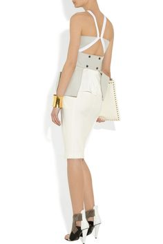 Roland Mouret|Lorong folded crepe and silk top|NET-A-PORTER.COM