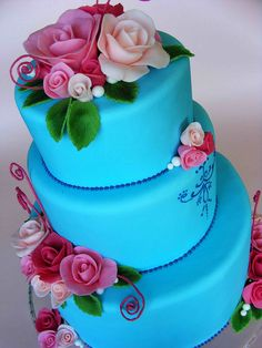 Blue wedding cake with roses | Flickr - Photo Sharing!