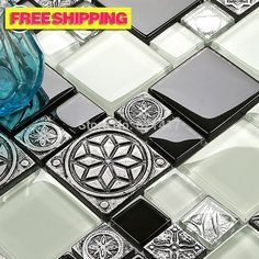 Cheap tile marker, Buy Quality tile pool directly from China bathroom factory Suppliers:Classic black and white glass silver grey carved flower backsplash resin tile 3D wall sticker blend resin mosaic tiles b