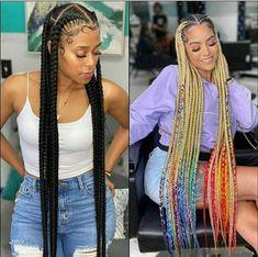 Feed In Braids Hairstyles, Black Girl Braids, Braided Hairstyles For Black Women, Baddie Hairstyles, Braids For Black Hair, Girls Braids, African Hairstyles, Cute Hairstyles, 4 Braids Hairstyle