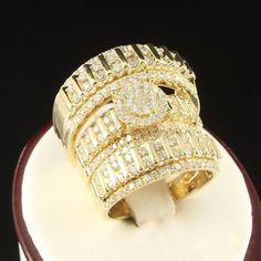 Diamond Trio Set His Hers Engagement Ring Bridal Wedding Band 14K Yellow Gold