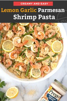 This Lemon Garlic Parmesan Shrimp Pasta features buttery lemon garlic shrimp and tender asparagus tossed in creamy Parmesan sauce. This creamy and easy to make pasta dish is sure to become a new favorite! Yummy Pasta Recipes, Easy Fish Recipes, Salmon Recipes, Seafood Recipes, Fun Recipes, Winter Recipes, Rice Recipes, Garlic Parmesan Shrimp, Parmesan Sauce