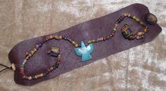 Wide Leather Cuff Bracelet turquoise eagle pendant antique beads hand sewn ooak rococo southwest hippie boho sundance style jewelry rustic by LandofBridget