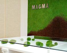 Magma, cork, moss wall, moss rocks, glass desk