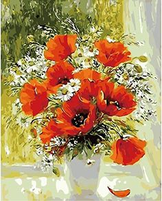 Pack of 3 Brushes 24 Paints,Fascinating Red Poppy Flowers Windowsill,DIY Oil Painting Beginner Paint by Number Art Painting Kits Canva Paintbrush and Paint Set for Adults Kids Digital Canvas Painting