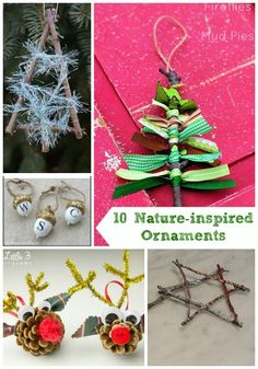 Adorable Christmas ornaments made with items from nature - so fun for the kids to do!