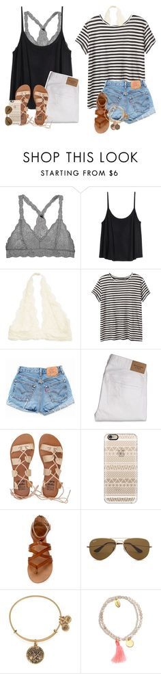 """How to wear: Bralettes"" by daydreammmm ❤ liked on Polyvore featuring H&M, Proenza Schouler, Levi's, Abercrombie & Fitch, Billabong, Casetify, Ray-Ban, Alex and Ani and Jigsaw"