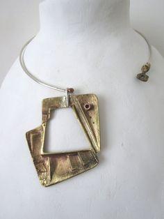 GIROCOLLO in argento con ciondolo in ottone di Loreart74 su Etsy