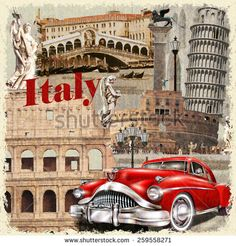 Italy vintage poster. - stock vector