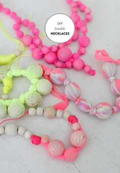 DIY Bauble Necklaces Read more - http://www.stylemepretty.com/living/2013/06/06/diy-bauble-necklaces/