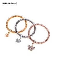NEW Elastic Crystal Butterfly Bracelet Snake Chain Charms Bracelet Bangle for Women 3 pieces JJAL B323 #Affiliate