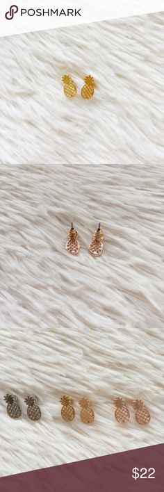 """Bri"" Gold Pineapple Studs  Zinc-alloy pineapple studs. Also available in silver and rose gold.  Jewelry Earrings"