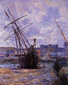 Claude Monet (French, Impressionism, 1840-1926): Boats Lying at Low Tide at Fecamp, 1881. Oil on canvas. Private Collection
