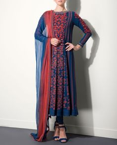 Navy Blue & Red Embroidered Suit - Printed navy blue suit adorned with red floral embroidery at the yoke. The set also includes matching dupatta and churidar - AM:PM