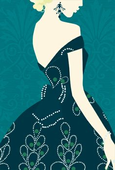 Beautiful illustrationlady in a blue ballgown (by unknown artist)