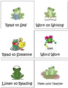 Daily 5 choices using the frog theme....