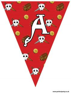 """Printable Pirate Party Bunting - red and grey design. Reads """"Ahoy there!"""" - great for any occasion! Visit http://www.perfectpartyuk.com/theme-guides/pirates/free-printables/ to get the full set of letters for free!"""