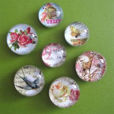 So, I was asked to explain how to make glass marble magnets. I'll do my best! You will need: (NOTE-all of this can be found in Michael's Craft stores) * A small bag of flat, clear glass marbles (you...