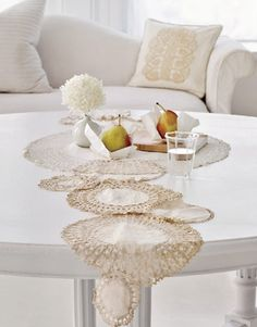 Doily table runner, could be adapted to a bed spread if you had several to work with...