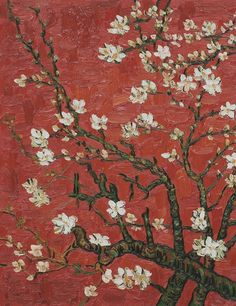 Branches Of An Almond Tree In Blossom (Artist Interpretation in Red), 1890  by Vincent Van Gogh