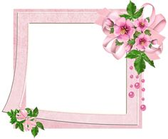 Cute Pink Transparent  Frame with Flowers