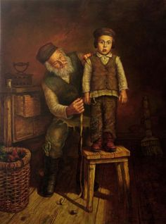 The Tailor By Boris Dubrov..Jewish man, Jewish boy, Jewish art, painting, Jewish culture