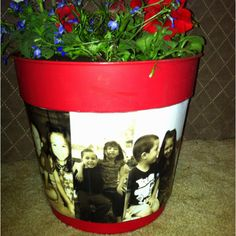 use at end of year with a class picture for volunteers or Mother's Day gift - modge podge photo flower pot