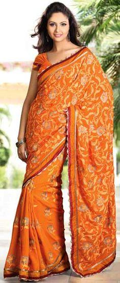 Orange Faux Georgette Saree With Blouse    Itemcode: SZC4804    Price: US $217.17    Click @ http://www.utsavfashion.com/store/sarees-large.aspx?icode=szc4804