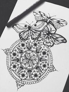Tattoo butterfly mandala tatoo 44 New ideas Trendy Tattoos, New Tattoos, Tattoos For Women, Tatoos, Brust Tattoo, Mandalas Drawing, Zentangles, Tattoo Feminina, Piercing Tattoo