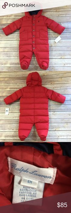 Ralph Lauren Red Quilted Snowsuit Bunting NEW NWT Ralph Lauren Red Quilted Snowsuit Bunting NEW NWT 6 Mo  Hooded. Both snaps and zips down the front. Sleeves can be pulled over hands. Polyester outer with down/waterfowl fill. Very warm. Footed. Size is 6 mo - should fit like 3-6 mo. Ralph Lauren has a tendency to run small.  #new #nwt #snowsuit #bunting #red #down #ralphlauren #quilted #giftable #babyshower #showergift Ralph Lauren Jackets & Coats