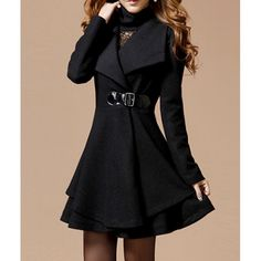 Noble Style Worsted Turn-Down Collar Long Sleeves Solid Color Women's Coat - $32.51