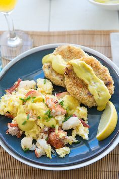 Lobster Scrambled Eggs With Crispy Leek and Potato Cakes and Wasabi Hollandaise