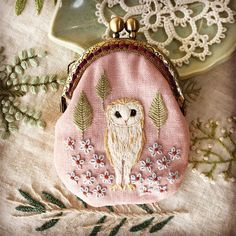 Japanese Embroidery Designs My Owl Barn: Embroidered Owl Purses by Japanese Artist Sashiko Embroidery, Japanese Embroidery, Hand Embroidery Patterns, Embroidery Art, Cross Stitch Embroidery, Machine Embroidery, Embroidery Designs, Hungarian Embroidery, Embroidery Scissors