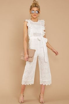 See what's new today at Red Dress. Red Dress has new arrivals on the latest dresses, clothes and shoes for women. All White Outfit, White Outfits, White Lace Jumpsuit, White Dress, Party Fashion, Fashion Outfits, Designer Jumpsuits, Latest Outfits, Latest Clothes