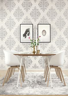 Grey and White Scroll Medallion wallpaper from Wallquest's White on White Collection.