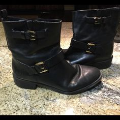 Tory Burch Selena black w buckles Bloomingdales 10 Tory Burch Selena flat booties -Bloomingdales 10 black  w gold hardware 260.00 new. reinforcement added for extra traction on sole by cobbler. Authentic Tory Burch Shoes Ankle Boots & Booties