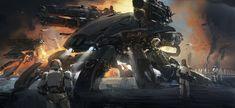 battle machine, J.C Park on ArtStation at https://www.artstation.com/artwork/battle-machine