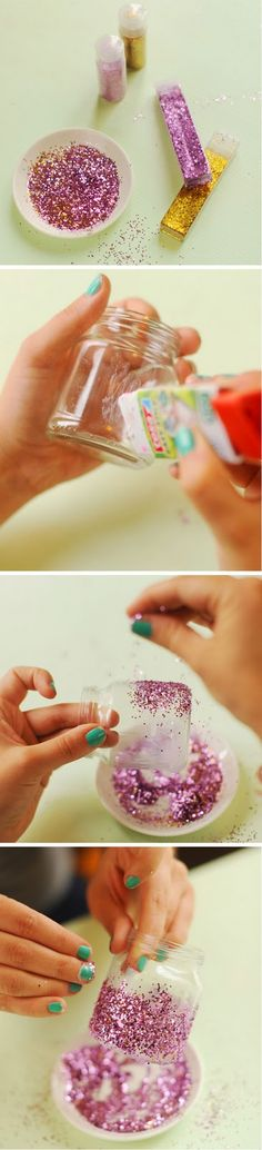 O Mundo de Calíope: Porta-Velas com Glitter - Faça Você Mesma