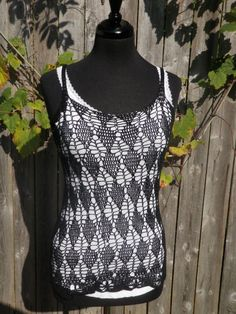 black tank top Argyle black top by CrochetByMel on Etsy