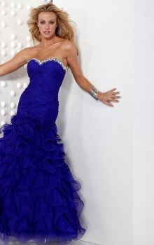 Blue Mermaid/Trumpet Strapless,Sweetheart Dropped Long/Floor-length Sleeveless Criss-Cross,Crystal,Tiered Organza Lace-up Prom Dresses Dress...